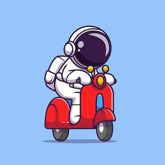 Carino astronauta equitazione scooter fumetto icona vettore illustrazione. icona del trasporto di scienza