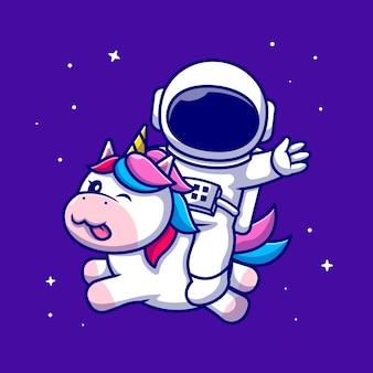 Illustrazione sveglia dell'icona del fumetto dell'unicorno di guida dell'astronauta. icona animale di scienza isolata. stile cartone animato piatto