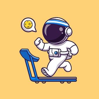 Carino astronauta in esecuzione sul tapis roulant vettore icona del fumetto. concetto di icona di sport di scienza isolato stile cartone animato piatto