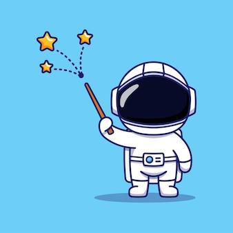 Astronauta carino che mostra magia isolata sull'azzurro