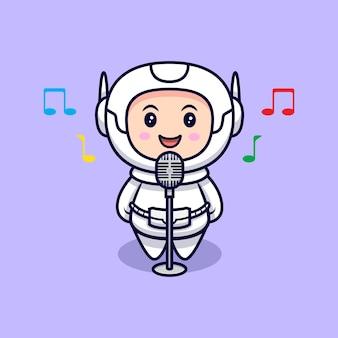 Illustrazione sveglia del fumetto di canto dell'astronauta. stile cartone animato piatto