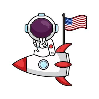 L'astronauta sveglio si siede sul razzo celebra l'illustrazione di vettore dell'icona del fumetto del giorno dell'indipendenza dell'america. stile cartone animato piatto.