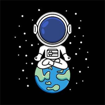 Simpatico astronauta seduto a gambe incrociate sulla terra e meditando. meditazione, illustrazione del fumetto di rilassamento