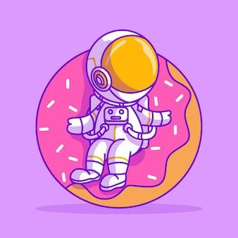 Simpatico astronauta seduto sull'illustrazione dell'icona a forma di ciambella