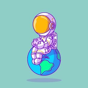 Simpatico astronauta seduto sull'illustrazione dell'icona della terra