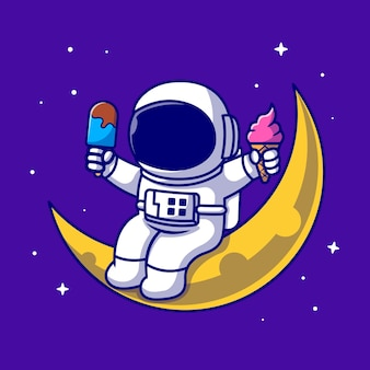 Carino astronauta seduto sulla luna e tenendo il gelato icona del fumetto illustrazione. icona dell'alimento di scienza isolata. stile cartone animato piatto