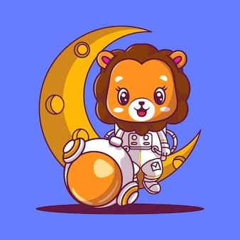 Simpatico astronauta seduto su un'illustrazione dell'icona della luna