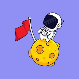 Simpatico astronauta in piedi sul fumetto della luna. stile cartone animato piatto