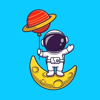 Astronauta carino in piedi sulla luna e tenendo il pianeta palloncino illustration balloon