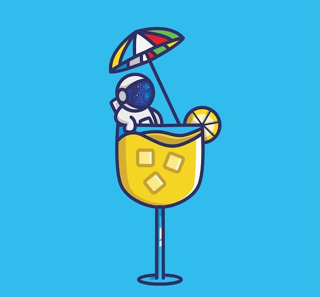L'astronauta carino fa il bagno su un bicchiere di succo di limone cartone animato viaggio vacanza vacanza estate isolata