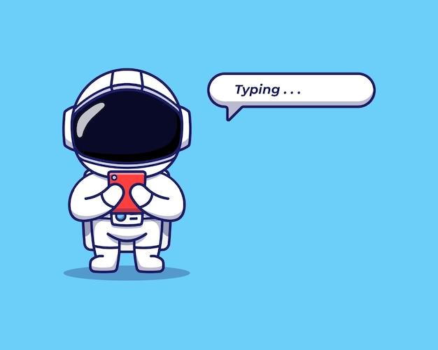 Simpatico astronauta digitando con lo smartphone