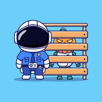 Simpatico astronauta che indossa l'uniforme della polizia con robot zucca