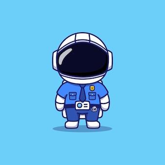 Simpatico astronauta che indossa l'uniforme della polizia