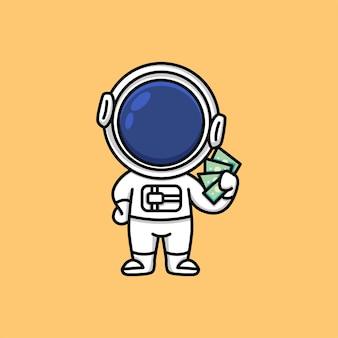 Astronauta carino con banconote di denaro nelle sue mani illustrazione del fumetto