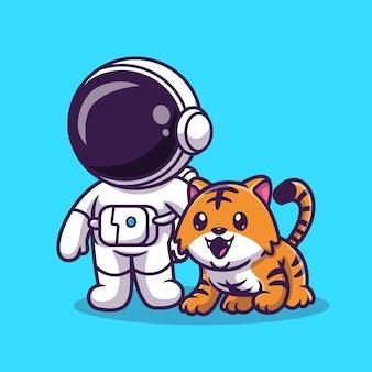 Astronauta sveglio con l'illustrazione sveglia dell'icona di vettore del fumetto della tigre. concetto di icona di scienza animale isolato vettore premium. stile cartone animato piatto