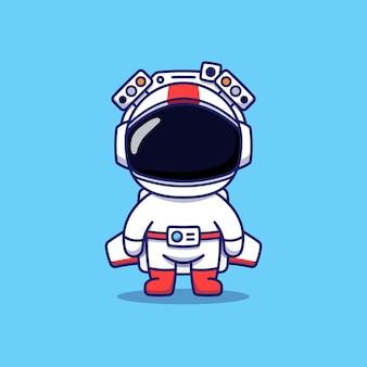 Simpatico astronauta con attrezzature futuristiche pronte a volare