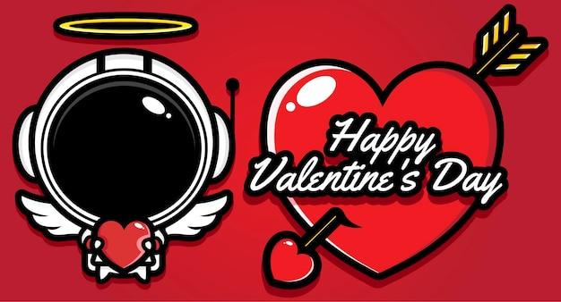 Simpatico astronauta con auguri di buon san valentino