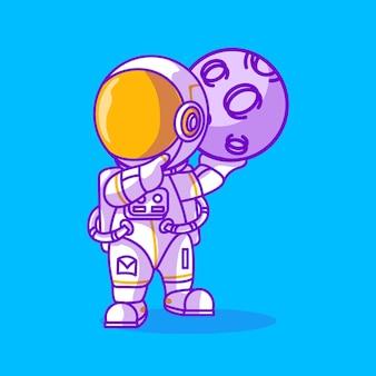 Simpatico astronauta con un'icona a forma di luna illustrazione