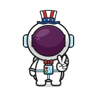 L'astronauta sveglio con la posa di pace celebra l'illustrazione di vettore dell'icona del fumetto del giorno dell'indipendenza dell'america. stile cartone animato piatto.