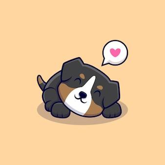Simpatico cane da pastore australiano ama dormire cartoon