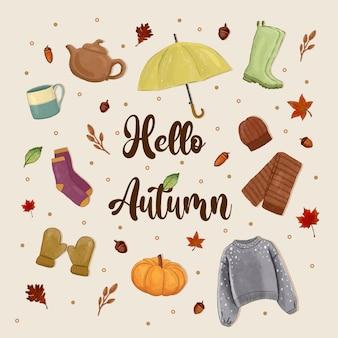Illustrazione sveglia degli elementi accoglienti dell'illustrazione di autunno