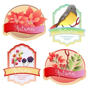 Etichetta autunno carino con canto degli uccelli e stella di natale