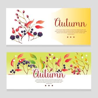 Insegna sveglia di tema di autunno con la pianta di stagione