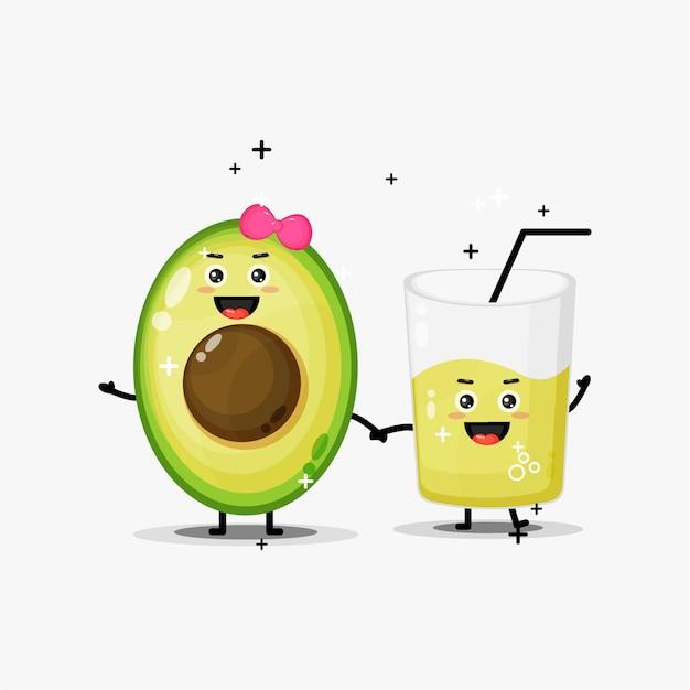 Carino mascotte di succo di avocado e avocado che tengono le mani