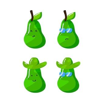 Simpatico personaggio dei cartoni animati di avocado con cappello e occhiali da sole in stile disegnato a mano piatta