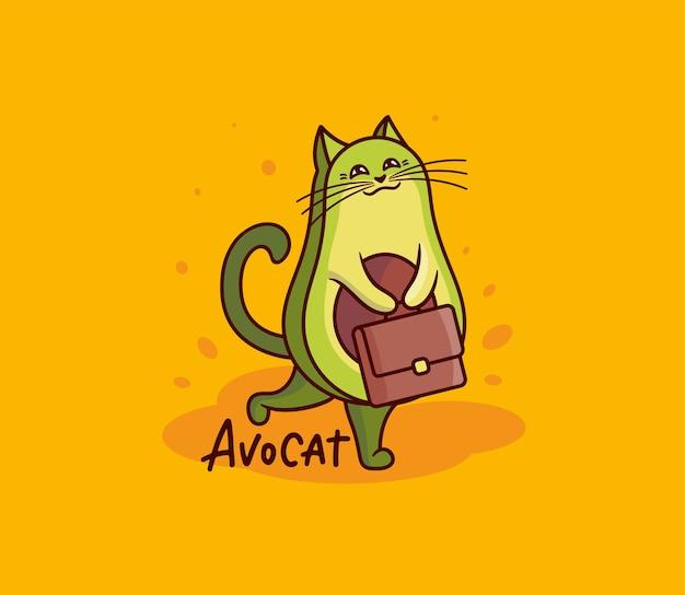La simpatica ragazza gatto avocado con valigetta. divertente personaggio da cartone animato con una frase scritta - avocat.