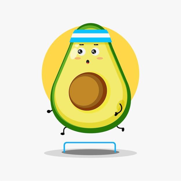 Simpatico personaggio di avocado in gara in esecuzione