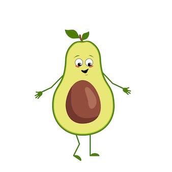 Simpatico personaggio di avocado con emozioni di gioia, faccia sorridente