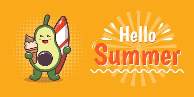 Simpatico personaggio di avocado con banner di auguri estivi