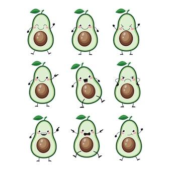 Simpatici personaggi di avocado impostati con diverse emizioni illustrazione. avocado kawai divertente