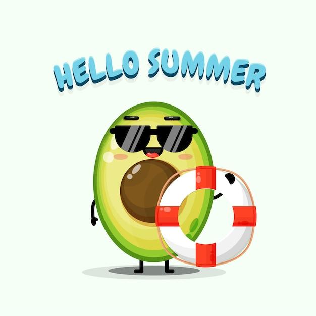 Simpatica mascotte di avocado che trasporta un galleggiante con i saluti estivi