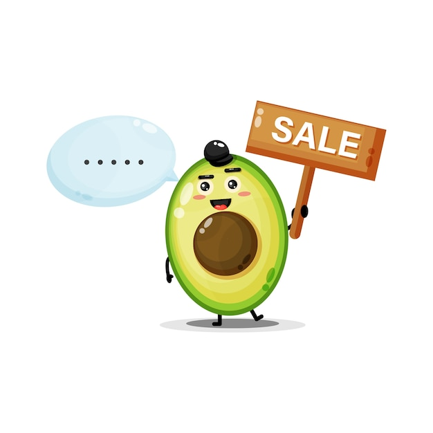 Simpatica mascotte di avocado con il segno di vendita