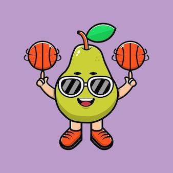 Carino avocado gioca a basket cartoon illustrazione