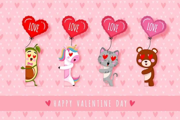 Carino avocado unicron gatto e orso felice giorno di san valentino