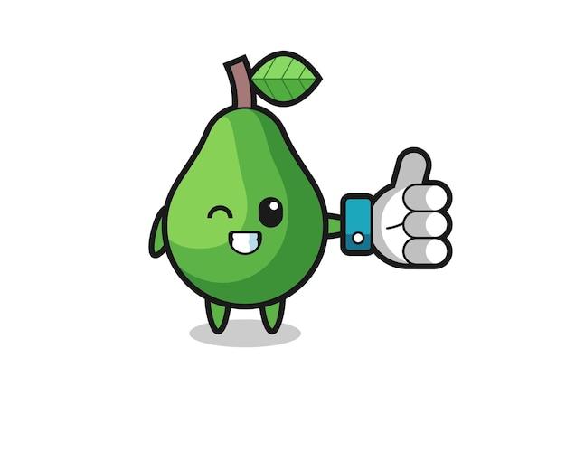 Simpatico avocado con simbolo del pollice in alto sui social media, design in stile carino per t-shirt, adesivo, elemento logo