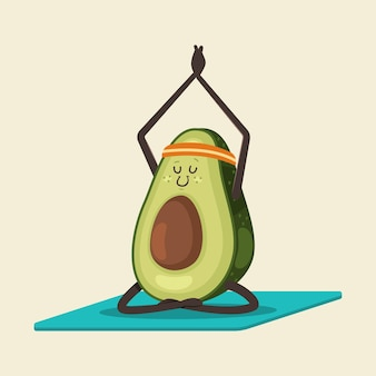 Avocado sveglio nella posa di yoga. carattere di frutta divertente del fumetto isolato su una priorità bassa. mangiare sano e in forma.