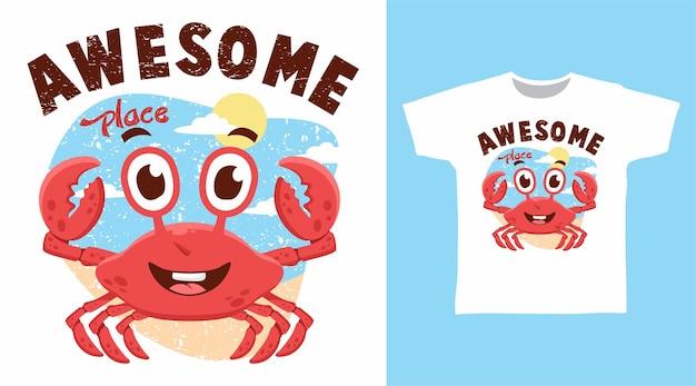 Simpatico design fantastico per t-shirt con granchio