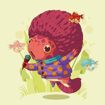 Simpatico ragazzino axolotl con taglio di capelli afro che canta il karaoke tra pesci e alghe