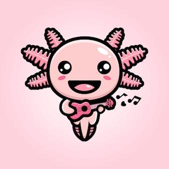 Simpatico axolotl che suona l'ukulele
