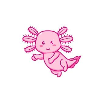 Simpatico disegno di illustrazione vettoriale di axolotl