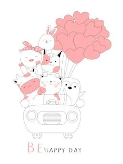 Animale sveglio del bambino con stile disegnato a mano del fumetto dell'automobile