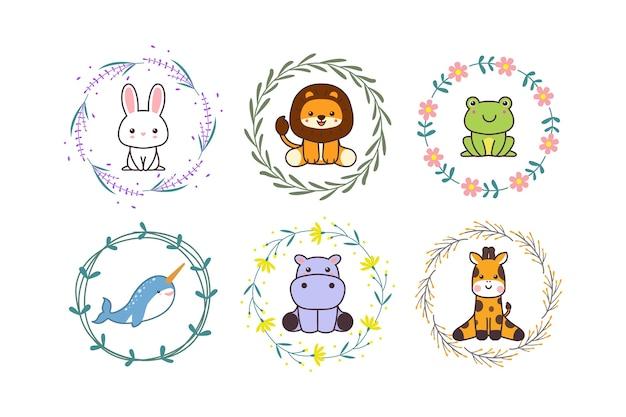 Animale sveglio del bambino con stile disegnato a mano del fumetto del bordo della corona o del fiore floreale