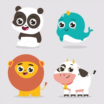 Personaggi dei cartoni animati svegli degli animali del bambino messi isolati su un fondo bianco.