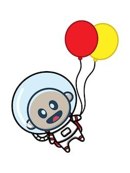 Cute baby astronauta holding palloncino icona del fumetto illustrazione