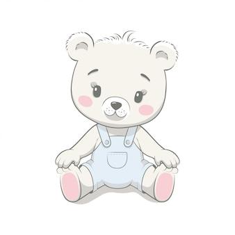 Cartone animato carino orso bambino