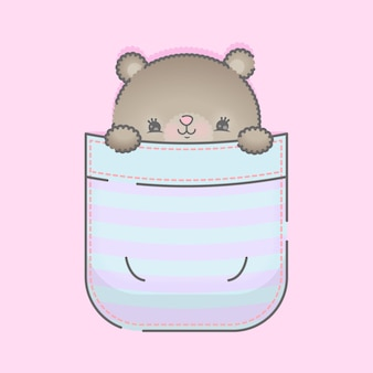 Orso sveglio del bambino in un'illustrazione tascabile